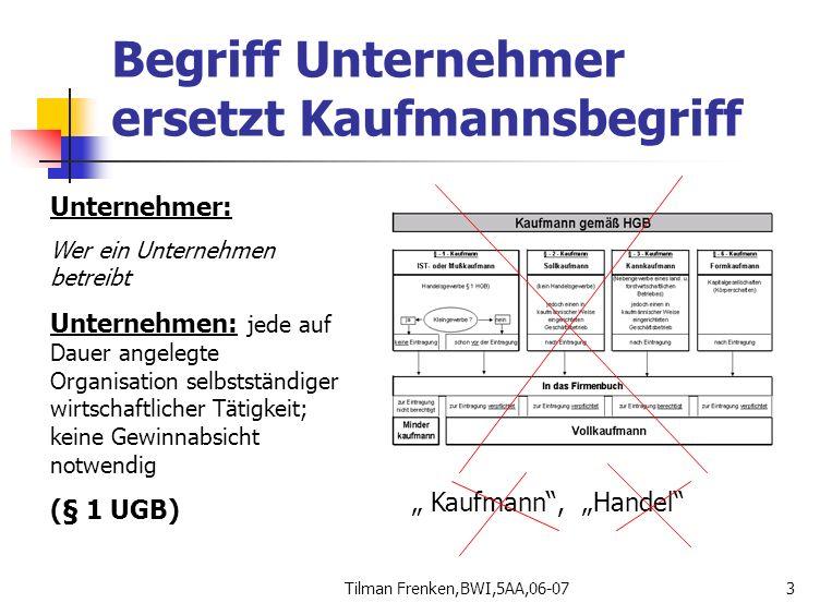 Tilman Frenken,BWI,5AA,06-073 Begriff Unternehmer ersetzt Kaufmannsbegriff Unternehmer: Wer ein Unternehmen betreibt Unternehmen: jede auf Dauer angel