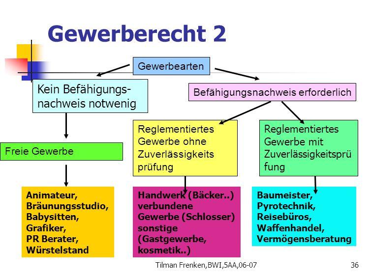 Tilman Frenken,BWI,5AA,06-0736 Gewerbearten Kein Befähigungs- nachweis notwenig Befähigungsnachweis erforderlich Reglementiertes Gewerbe mit Zuverläss