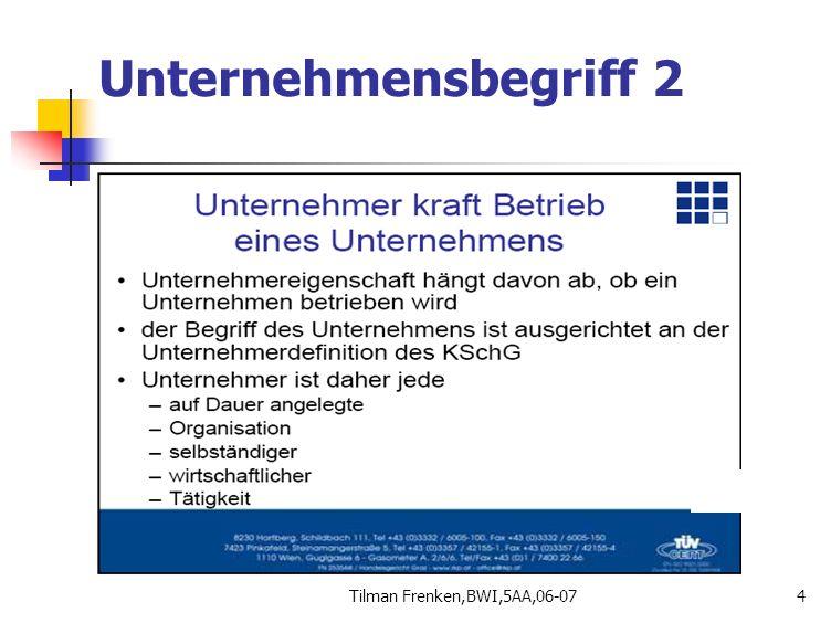 Tilman Frenken,BWI,5AA,06-0735 Gewerberecht 1 Tatbestand: Selbstständige, regelmäßige, erlaubte, mit Ertragsabsicht ausgeübte Tätigkeit Ist in Gewerbeordnung geregelt (GewO) Versicherungspflicht bei GSVG Ausnahmen: Berufe mit eig.