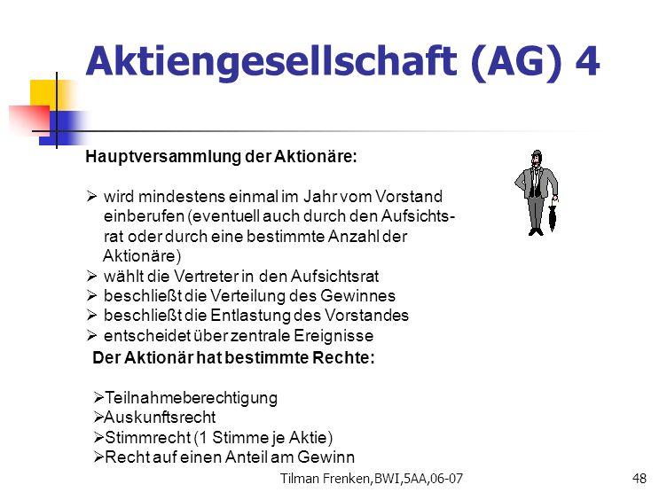 Tilman Frenken,BWI,5AA,06-0748 Hauptversammlung der Aktionäre:  wird mindestens einmal im Jahr vom Vorstand einberufen (eventuell auch durch den Aufs