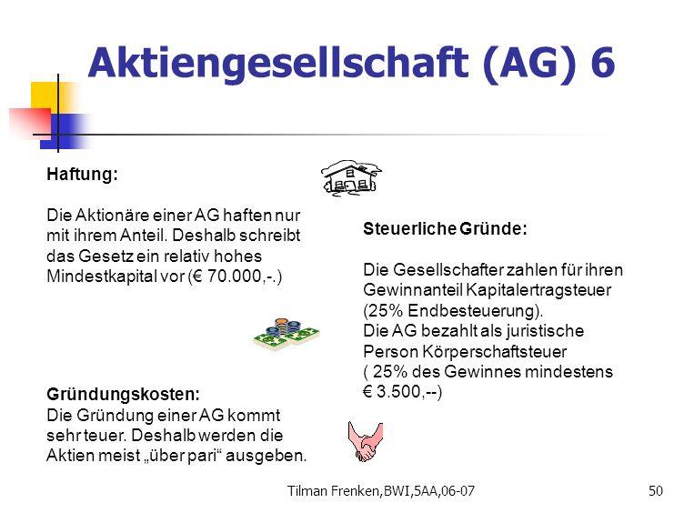 Tilman Frenken,BWI,5AA,06-0750 Haftung: Die Aktionäre einer AG haften nur mit ihrem Anteil. Deshalb schreibt das Gesetz ein relativ hohes Mindestkapit
