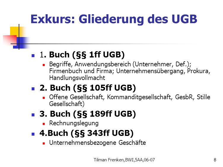 Tilman Frenken,BWI,5AA,06-078 Exkurs: Gliederung des UGB 1. Buch (§§ 1ff UGB) Begriffe, Anwendungsbereich (Unternehmer, Def.); Firmenbuch und Firma; U