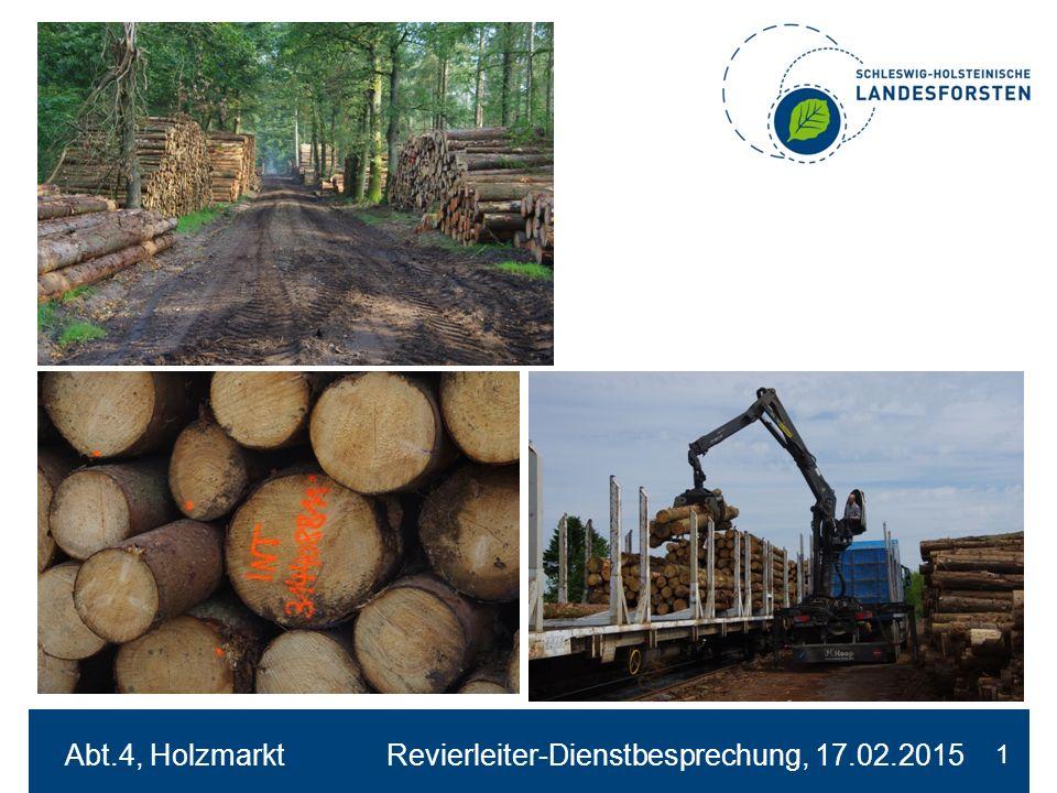 Entwicklung Holzeinschlag SHLF 2008 - 2014 2 FmFm