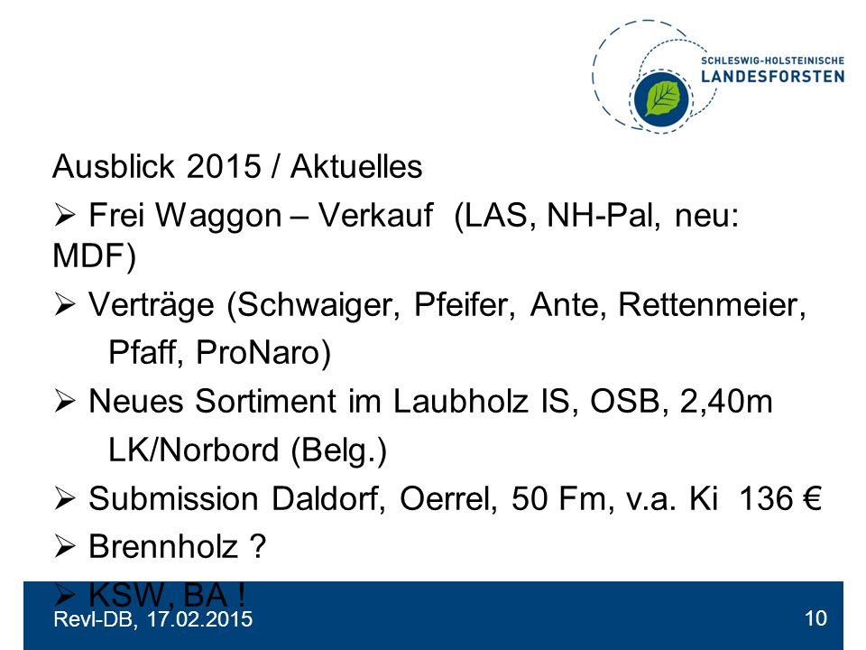 Revl-DB, 17.02.2015 Ausblick 2015 / Aktuelles  Frei Waggon – Verkauf (LAS, NH-Pal, neu: MDF)  Verträge (Schwaiger, Pfeifer, Ante, Rettenmeier, Pfaff, ProNaro)  Neues Sortiment im Laubholz IS, OSB, 2,40m LK/Norbord (Belg.)  Submission Daldorf, Oerrel, 50 Fm, v.a.