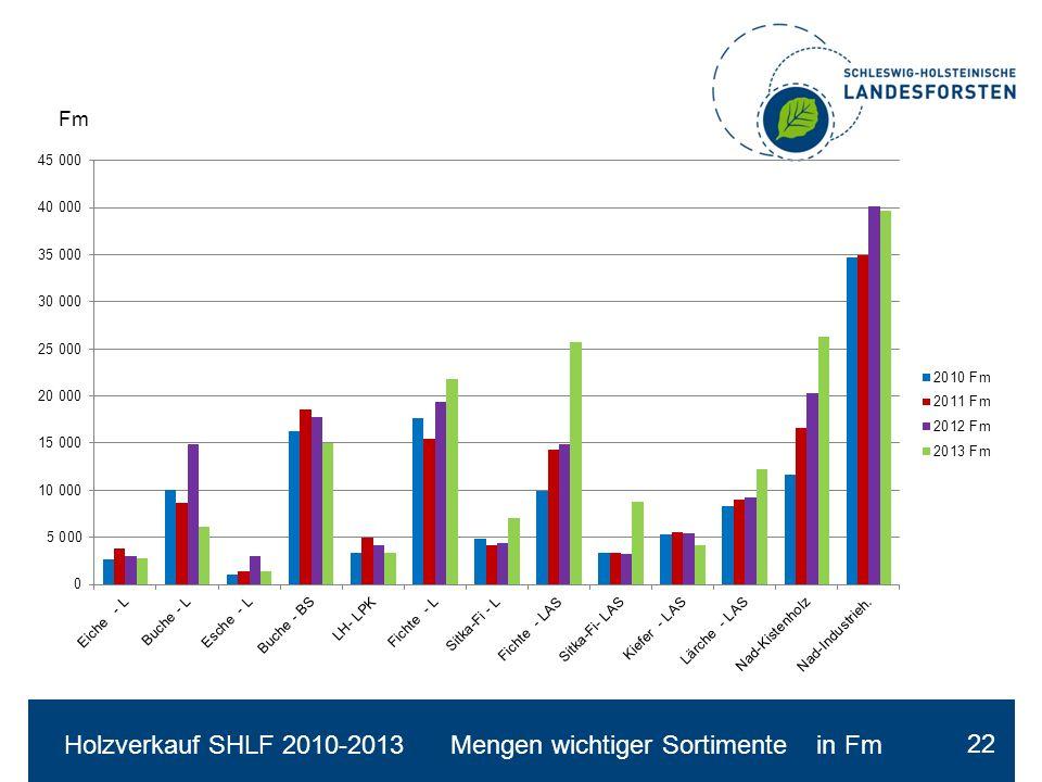 Holzverkauf SHLF 2010-2013 Mengen wichtiger Sortimente in Fm 22 Fm
