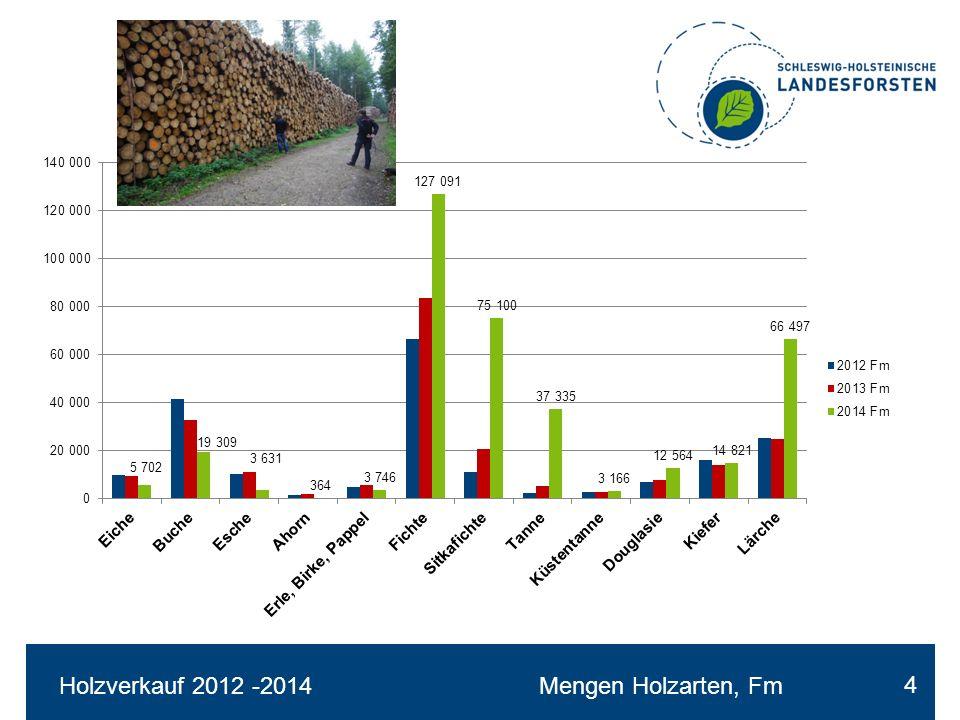 Holzverkauf 2012-2014Ø – Erlöse nach Holzarten €/Fm 5