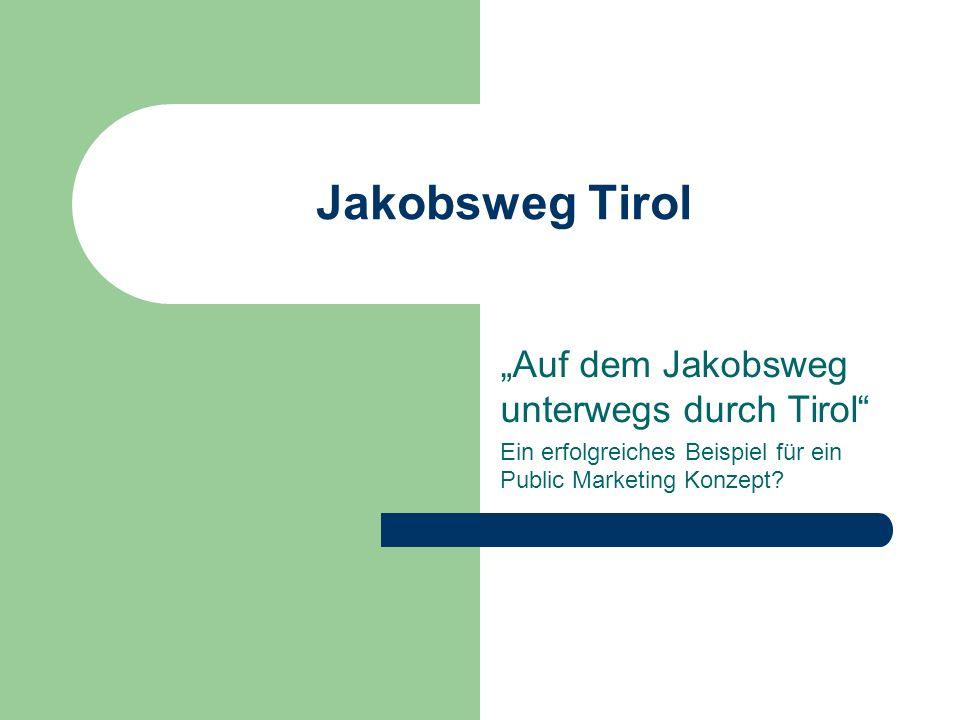 Jakobsweg Tirol Projektvolumen: 300.000 € Förderung nach Interreg III: 60% Laufzeit von 2003 bis 2006 Inhalt des Projekts: Bestimmung historischer Pilgerstrecken auf wissenschaftlicher Basis Bestimmung des Grundangebots einheitliche Kommunikation und Bewerbung (Schaffung einer Internet- Plattform) Suchen von Beherbergungsbetrieben Aufbau der Zusammenarbeit mit Tourismusverbänden