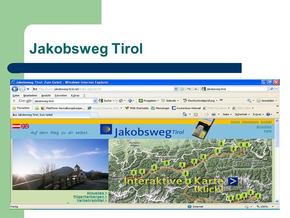 Beim Jakobsweg Tirol handelt es sich um ein Projekt der Wiederbelebung alter Tiroler Strecken der Jakobspilger auf Ihrem Weg nach Santiago de Compostela.