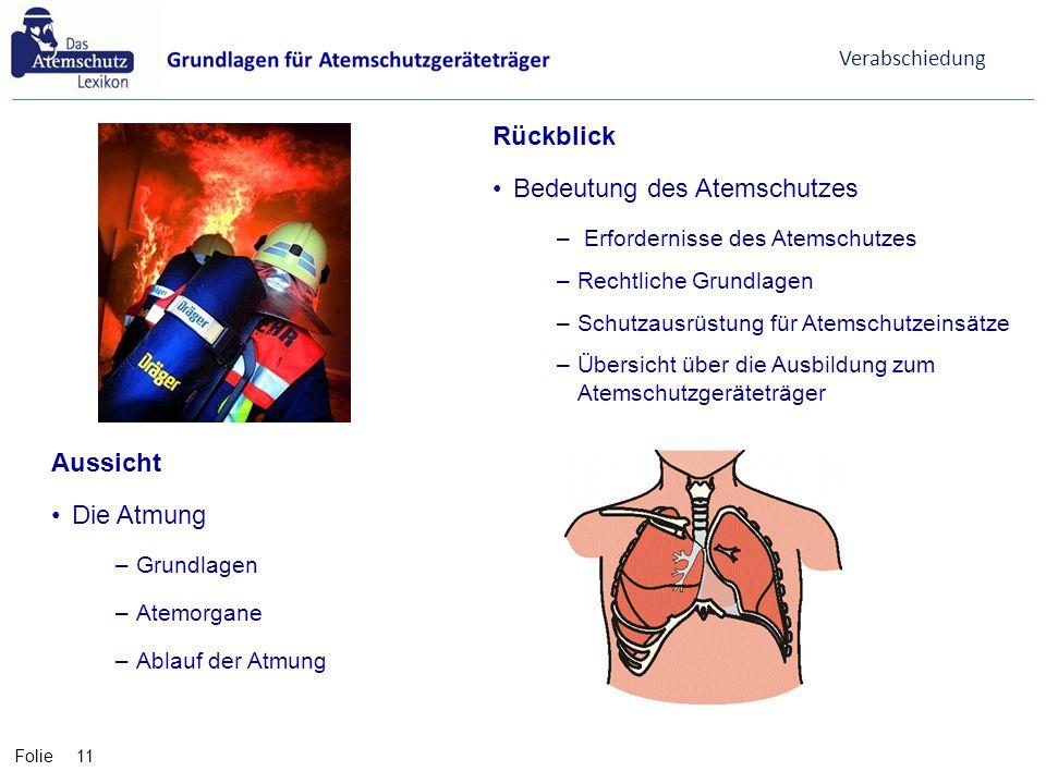 Folie Aussicht Die Atmung –Grundlagen –Atemorgane –Ablauf der Atmung 11 Verabschiedung Rückblick Bedeutung des Atemschutzes – Erfordernisse des Atemsc