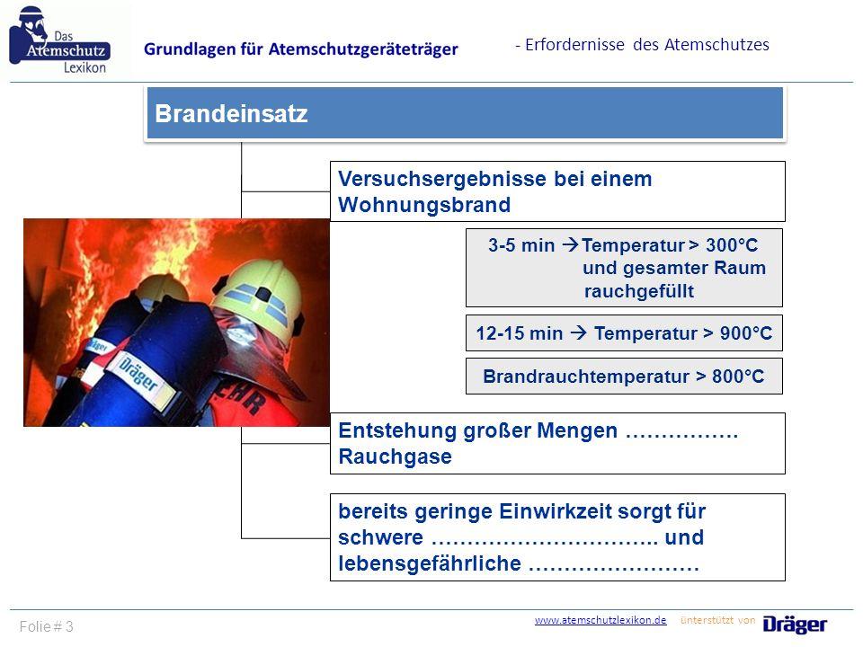 www.atemschutzlexikon.dewww.atemschutzlexikon.de ünterstützt von Folie # 3 - Erfordernisse des Atemschutzes Versuchsergebnisse bei einem Wohnungsbrand Entstehung großer Mengen …………….