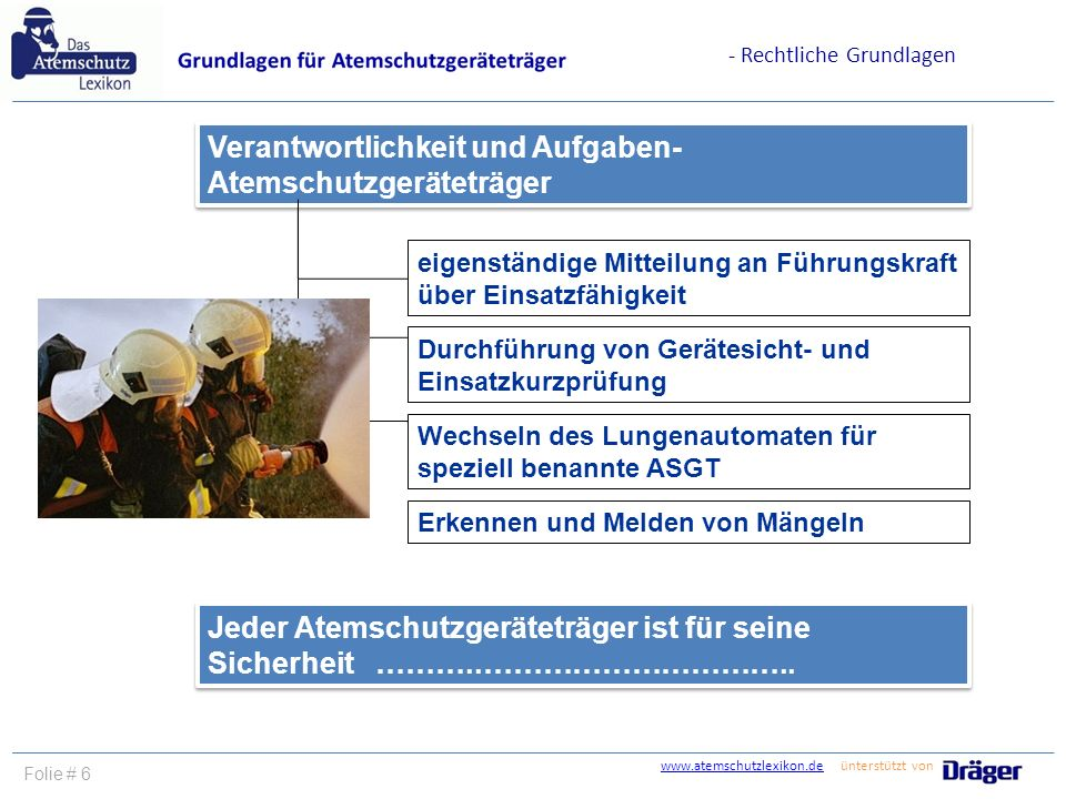 www.atemschutzlexikon.dewww.atemschutzlexikon.de ünterstützt von Folie # 6 eigenständige Mitteilung an Führungskraft über Einsatzfähigkeit Durchführun