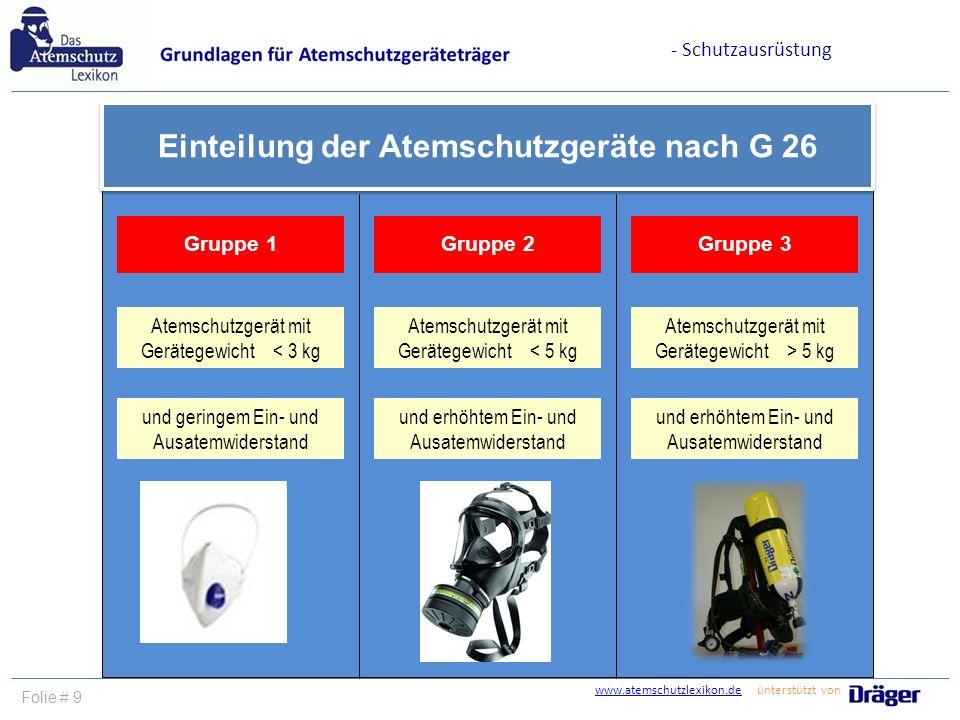 www.atemschutzlexikon.dewww.atemschutzlexikon.de ünterstützt von Folie # 9 Einteilung der Atemschutzgeräte nach G 26 Gruppe 1Gruppe 2Gruppe 3 Atemschu