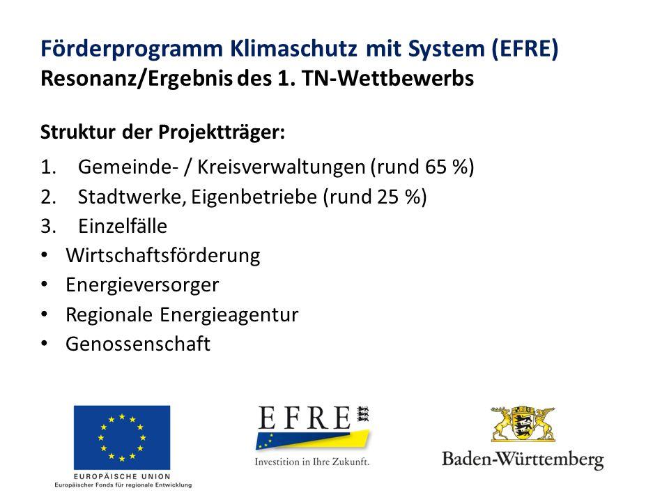 Förderprogramm Klimaschutz mit System (EFRE) Resonanz/Ergebnis des 1. TN-Wettbewerbs Struktur der Projektträger: 1.Gemeinde- / Kreisverwaltungen (rund