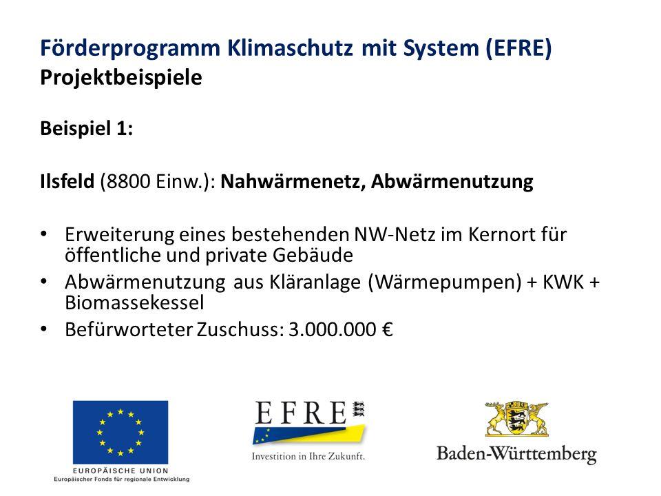 Förderprogramm Klimaschutz mit System (EFRE) Projektbeispiele Beispiel 1: Ilsfeld (8800 Einw.): Nahwärmenetz, Abwärmenutzung Erweiterung eines bestehenden NW-Netz im Kernort für öffentliche und private Gebäude Abwärmenutzung aus Kläranlage (Wärmepumpen) + KWK + Biomassekessel Befürworteter Zuschuss: 3.000.000 €