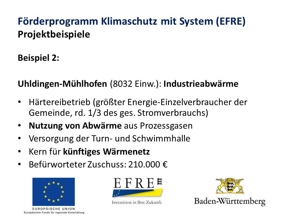 Förderprogramm Klimaschutz mit System (EFRE) Projektbeispiele Beispiel 2: Uhldingen-Mühlhofen (8032 Einw.): Industrieabwärme Härtereibetrieb (größter