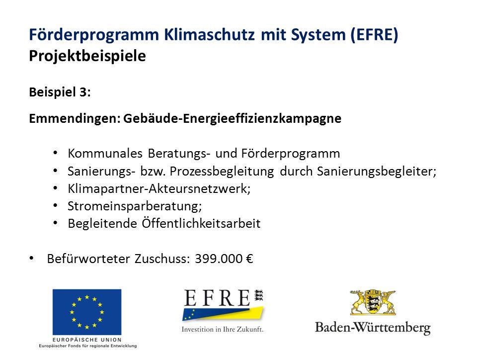 Förderprogramm Klimaschutz mit System (EFRE) Projektbeispiele Beispiel 3: Emmendingen: Gebäude-Energieeffizienzkampagne Kommunales Beratungs- und Förderprogramm Sanierungs- bzw.