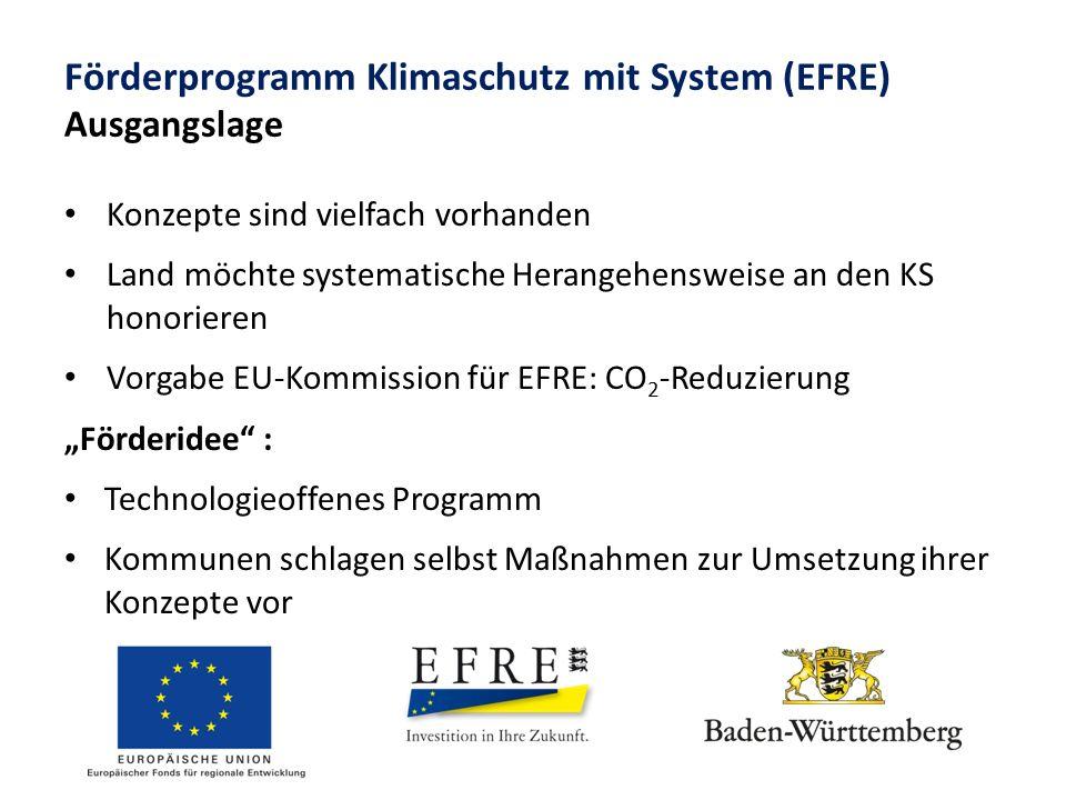 """Förderprogramm Klimaschutz mit System (EFRE) Ausgangslage Konzepte sind vielfach vorhanden Land möchte systematische Herangehensweise an den KS honorieren Vorgabe EU-Kommission für EFRE: CO 2 -Reduzierung """"Förderidee : Technologieoffenes Programm Kommunen schlagen selbst Maßnahmen zur Umsetzung ihrer Konzepte vor"""