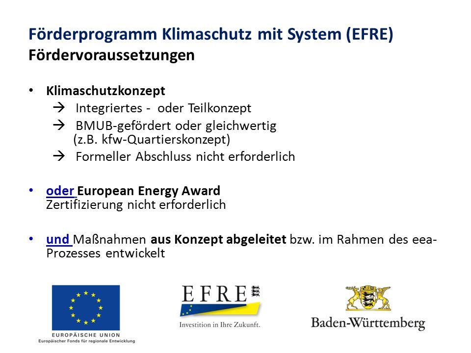 Förderprogramm Klimaschutz mit System (EFRE) Fördervoraussetzungen Klimaschutzkonzept  Integriertes - oder Teilkonzept  BMUB-gefördert oder gleichwe