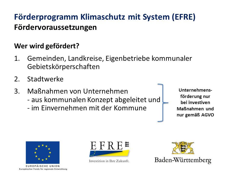 Förderprogramm Klimaschutz mit System (EFRE) Fördervoraussetzungen Wer wird gefördert? 1.Gemeinden, Landkreise, Eigenbetriebe kommunaler Gebietskörper