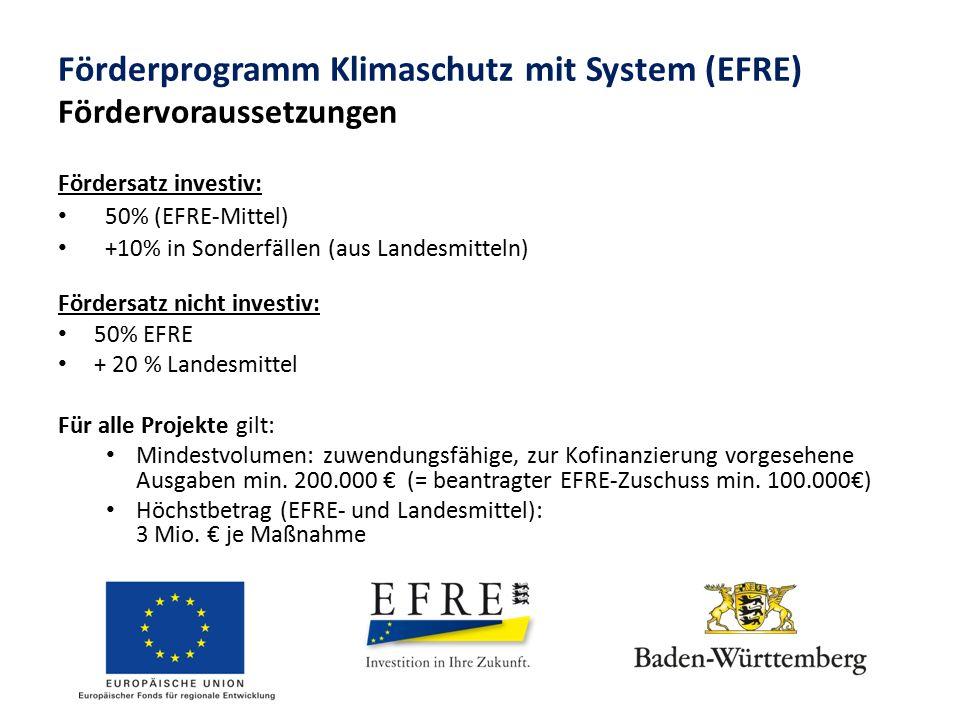 Förderprogramm Klimaschutz mit System (EFRE) Fördervoraussetzungen Fördersatz investiv: 50% (EFRE-Mittel) +10% in Sonderfällen (aus Landesmitteln) Fördersatz nicht investiv: 50% EFRE + 20 % Landesmittel Für alle Projekte gilt: Mindestvolumen: zuwendungsfähige, zur Kofinanzierung vorgesehene Ausgaben min.
