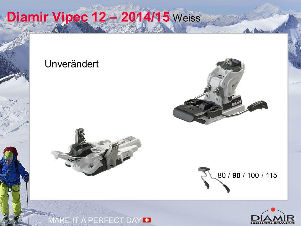 Diamir Vipec 12 – 2015/16 Schwarz 80 / 90 / 100 / 115 Neuer Look: schwarz - weiss Unterschiedlicher Kraftverlauf Seitwärtsauslösung Geometrische Anpassung Easy Switch Toe Entkoppelung Feder in Position Step-In