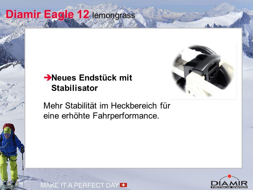 Mehr Diamir Eagle 12 lemongrass  Neues Endstück mit Stabilisator Mehr Stabilität im Heckbereich für eine erhöhte Fahrperformance.