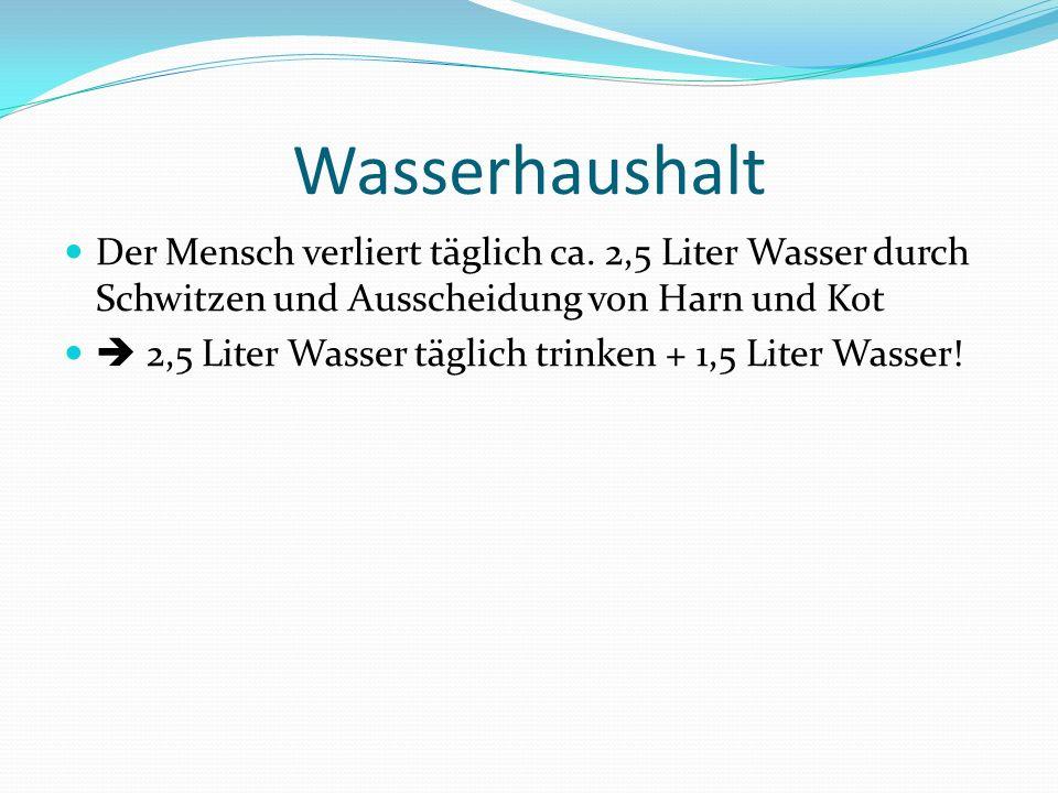 Aufgabe von Wasser Lösungs- und Transportmittel (Blut, Lymphe) Wärmeregler (Schwitzen)