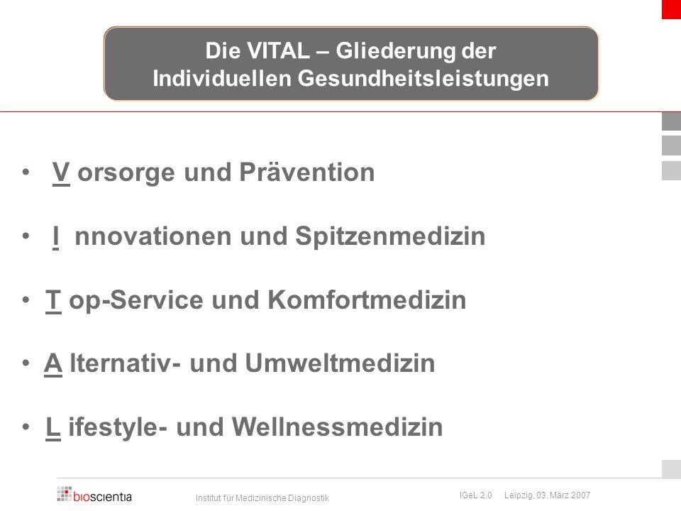 Institut für Medizinische Diagnostik IGeL 2.0 Leipzig, 03. März 2007 V orsorge und Prävention I nnovationen und Spitzenmedizin T op-Service und Komfor