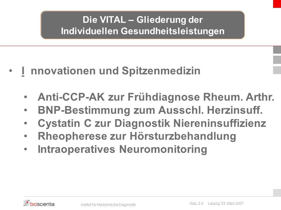 Institut für Medizinische Diagnostik IGeL 2.0 Leipzig, 03. März 2007 I nnovationen und Spitzenmedizin Anti-CCP-AK zur Frühdiagnose Rheum. Arthr. BNP-B