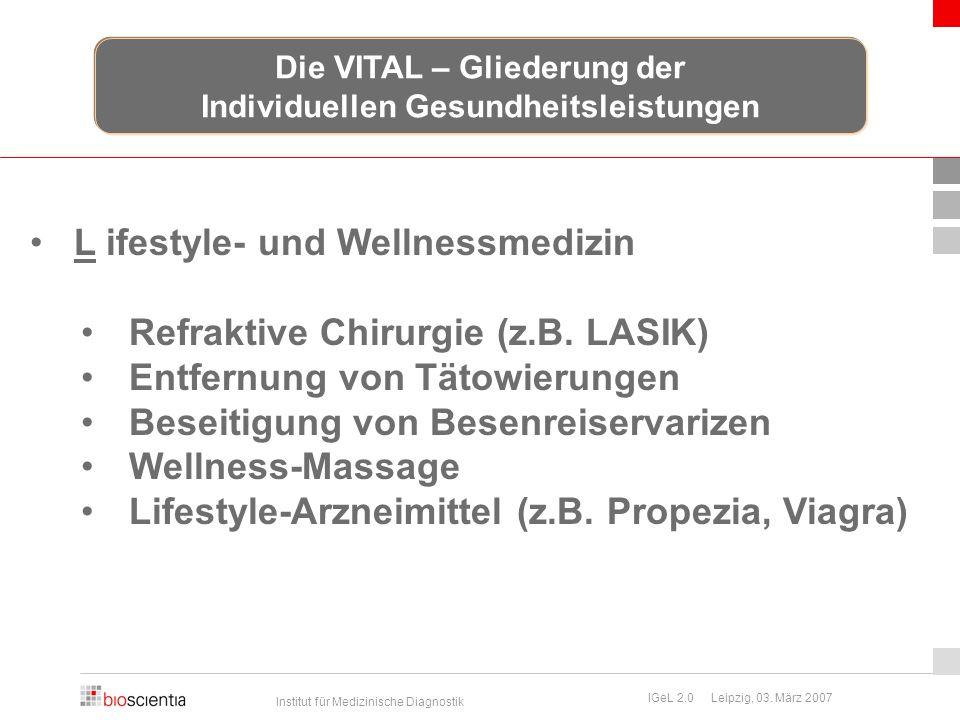 Institut für Medizinische Diagnostik IGeL 2.0 Leipzig, 03. März 2007 L ifestyle- und Wellnessmedizin Refraktive Chirurgie (z.B. LASIK) Entfernung von