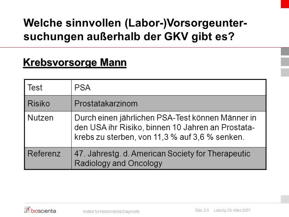 Institut für Medizinische Diagnostik IGeL 2.0 Leipzig, 03. März 2007 Krebsvorsorge Mann TestPSA RisikoProstatakarzinom NutzenDurch einen jährlichen PS