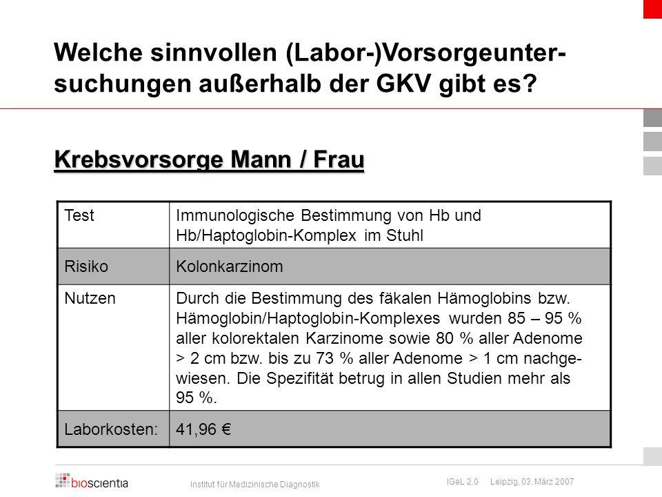 Institut für Medizinische Diagnostik IGeL 2.0 Leipzig, 03. März 2007 Krebsvorsorge Mann / Frau TestImmunologische Bestimmung von Hb und Hb/Haptoglobin