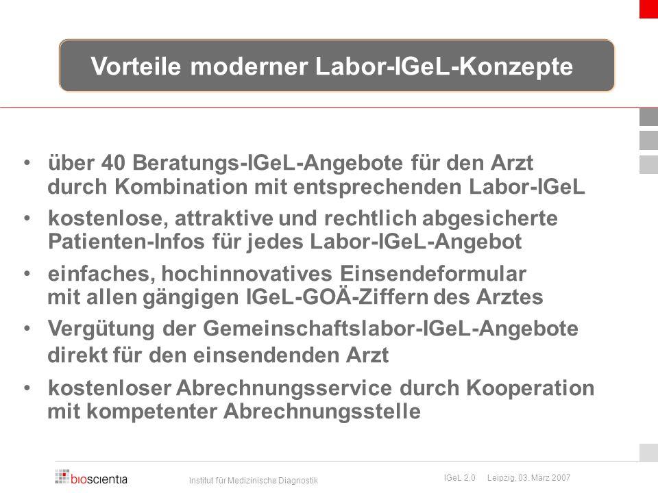 Institut für Medizinische Diagnostik IGeL 2.0 Leipzig, 03. März 2007 über 40 Beratungs-IGeL-Angebote für den Arzt durch Kombination mit entsprechenden
