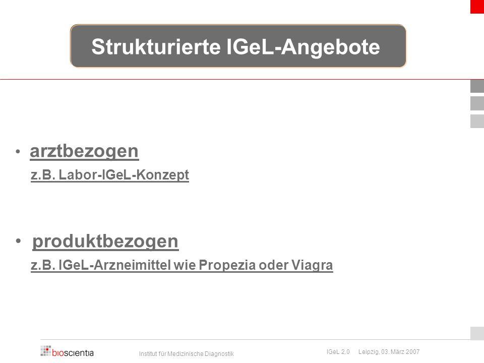 Institut für Medizinische Diagnostik IGeL 2.0 Leipzig, 03. März 2007 Strukturierte IGeL-Angebote arztbezogen z.B. Labor-IGeL-Konzept produktbezogen z.