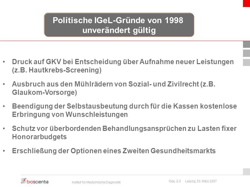 Institut für Medizinische Diagnostik IGeL 2.0 Leipzig, 03. März 2007 Druck auf GKV bei Entscheidung über Aufnahme neuer Leistungen (z.B. Hautkrebs-Scr