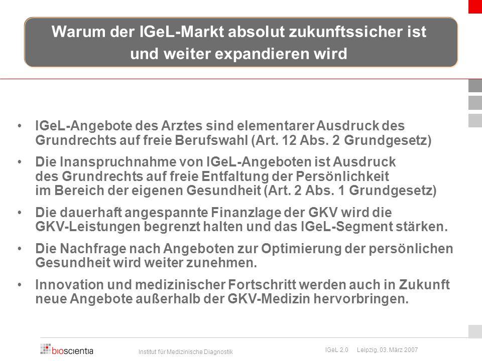 Institut für Medizinische Diagnostik IGeL 2.0 Leipzig, 03. März 2007 IGeL-Angebote des Arztes sind elementarer Ausdruck des Grundrechts auf freie Beru