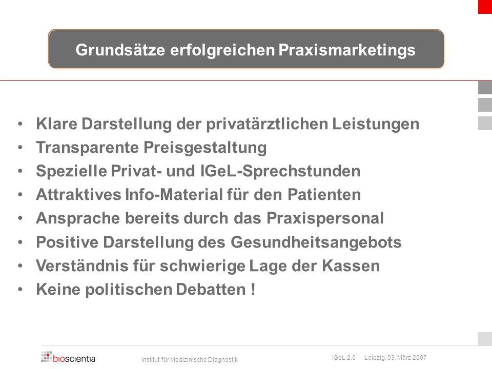Institut für Medizinische Diagnostik IGeL 2.0 Leipzig, 03. März 2007 Klare Darstellung der privatärztlichen Leistungen Transparente Preisgestaltung Sp