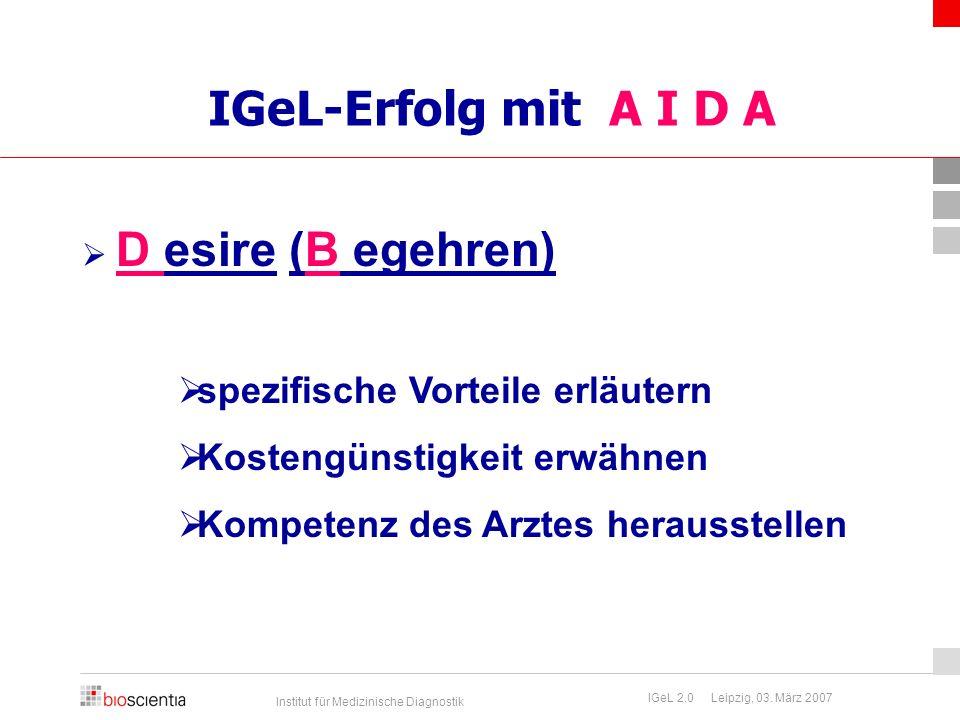 Institut für Medizinische Diagnostik IGeL 2.0 Leipzig, 03. März 2007 IGeL-Erfolg mit A I D A  D esire (B egehren)  spezifische Vorteile erläutern 