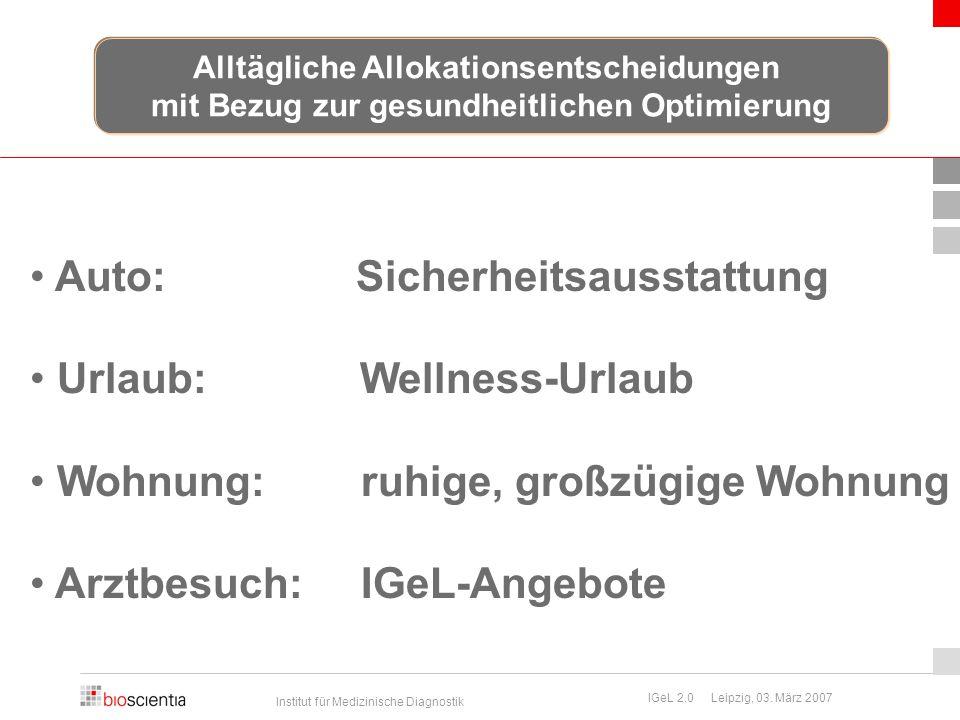 Institut für Medizinische Diagnostik IGeL 2.0 Leipzig, 03. März 2007 Auto: Sicherheitsausstattung Urlaub: Wellness-Urlaub Wohnung: ruhige, großzügige