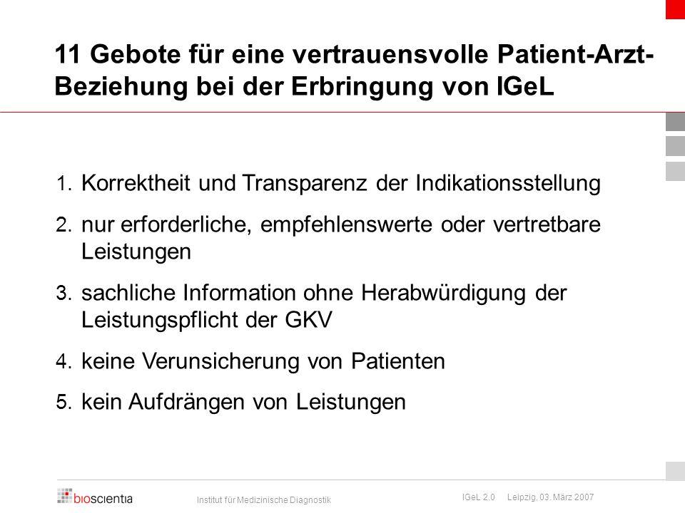 Institut für Medizinische Diagnostik IGeL 2.0 Leipzig, 03.