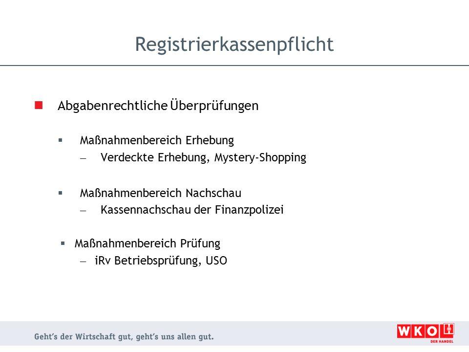 Abgabenrechtliche Überprüfungen  Maßnahmenbereich Erhebung – Verdeckte Erhebung, Mystery-Shopping  Maßnahmenbereich Nachschau – Kassennachschau der