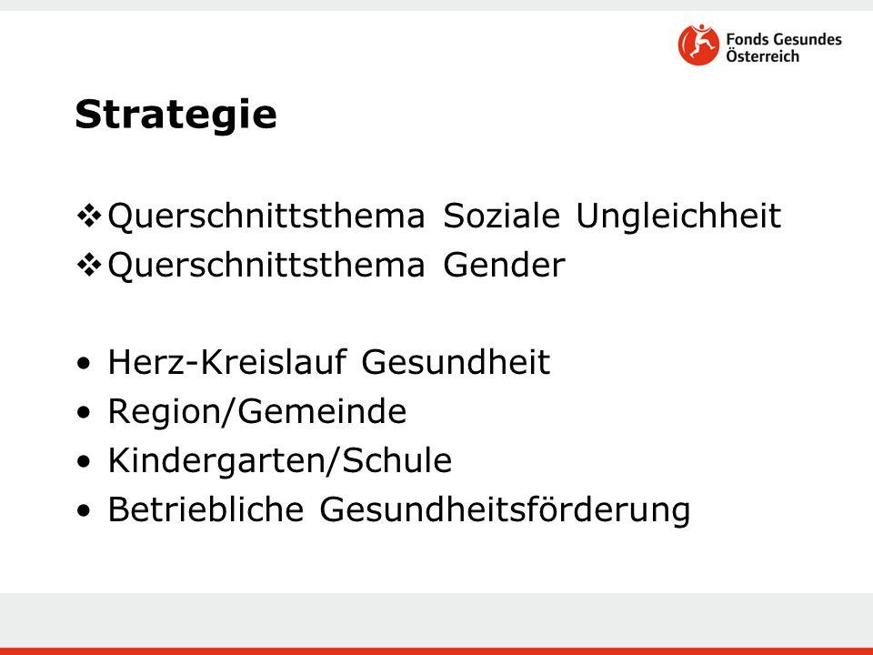 Strategie  Querschnittsthema Soziale Ungleichheit  Querschnittsthema Gender Herz-Kreislauf Gesundheit Region/Gemeinde Kindergarten/Schule Betriebliche Gesundheitsförderung