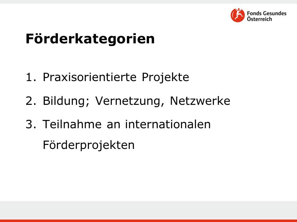 Förderkategorien 1.Praxisorientierte Projekte 2.Bildung; Vernetzung, Netzwerke 3.Teilnahme an internationalen Förderprojekten
