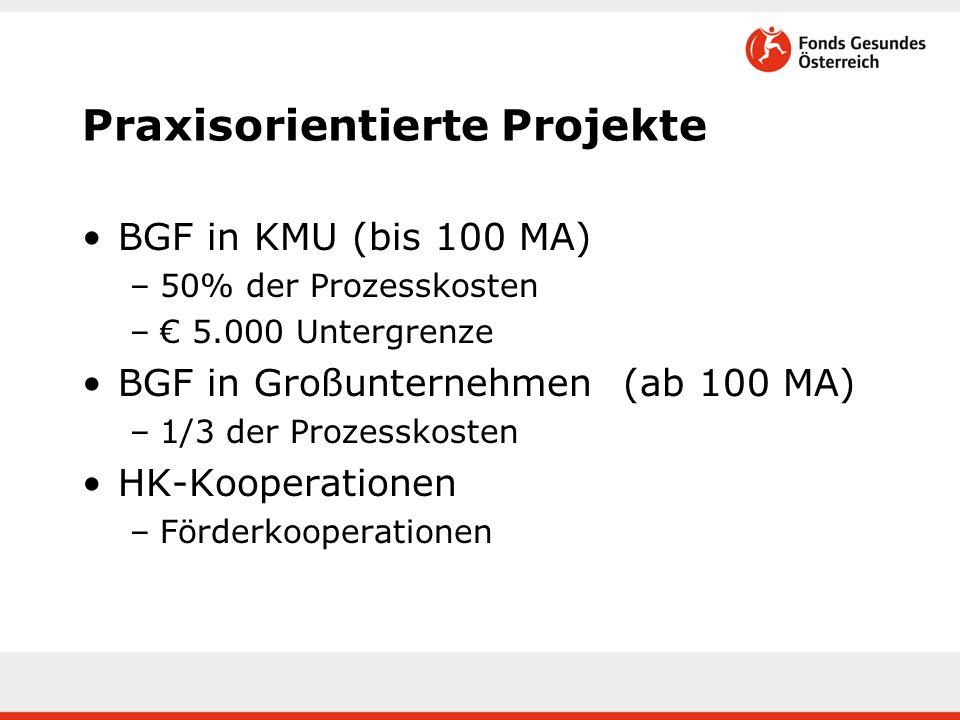 Praxisorientierte Projekte BGF in KMU (bis 100 MA) –50% der Prozesskosten –€ 5.000 Untergrenze BGF in Großunternehmen (ab 100 MA) –1/3 der Prozesskost