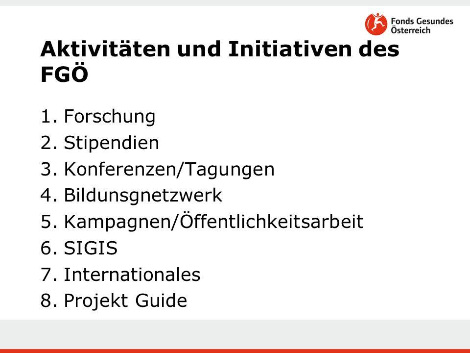 Aktivitäten und Initiativen des FGÖ 1.Forschung 2.Stipendien 3.Konferenzen/Tagungen 4.Bildunsgnetzwerk 5.Kampagnen/Öffentlichkeitsarbeit 6.SIGIS 7.Internationales 8.Projekt Guide