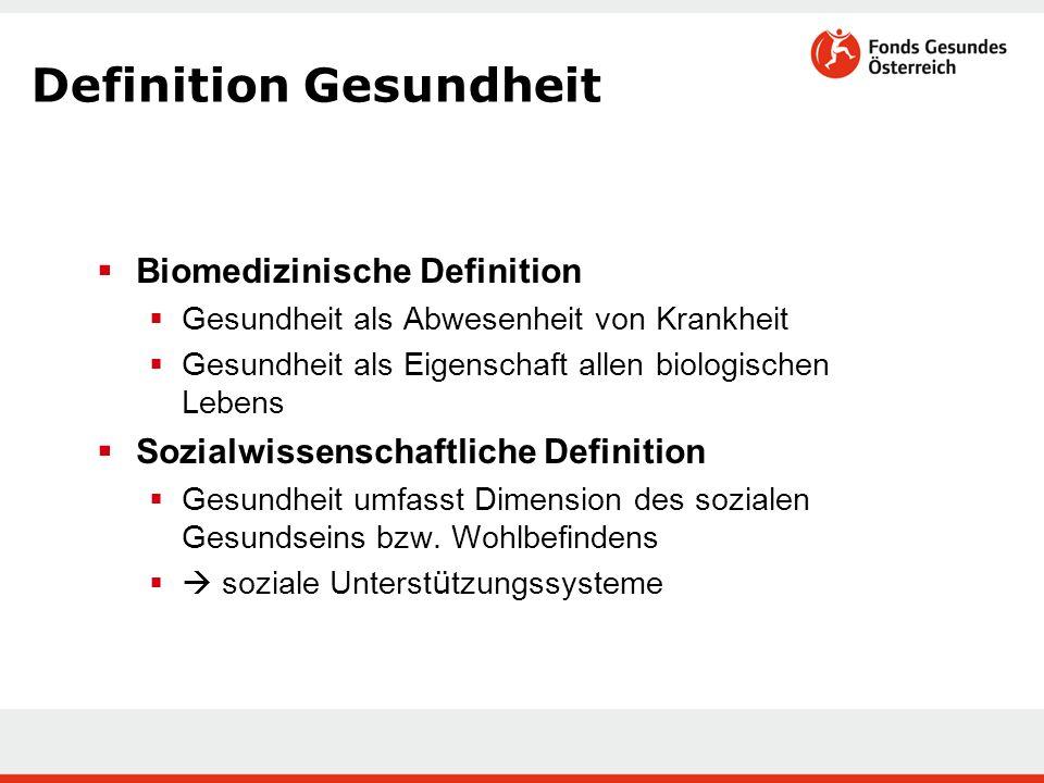  Biomedizinische Definition  Gesundheit als Abwesenheit von Krankheit  Gesundheit als Eigenschaft allen biologischen Lebens  Sozialwissenschaftlic