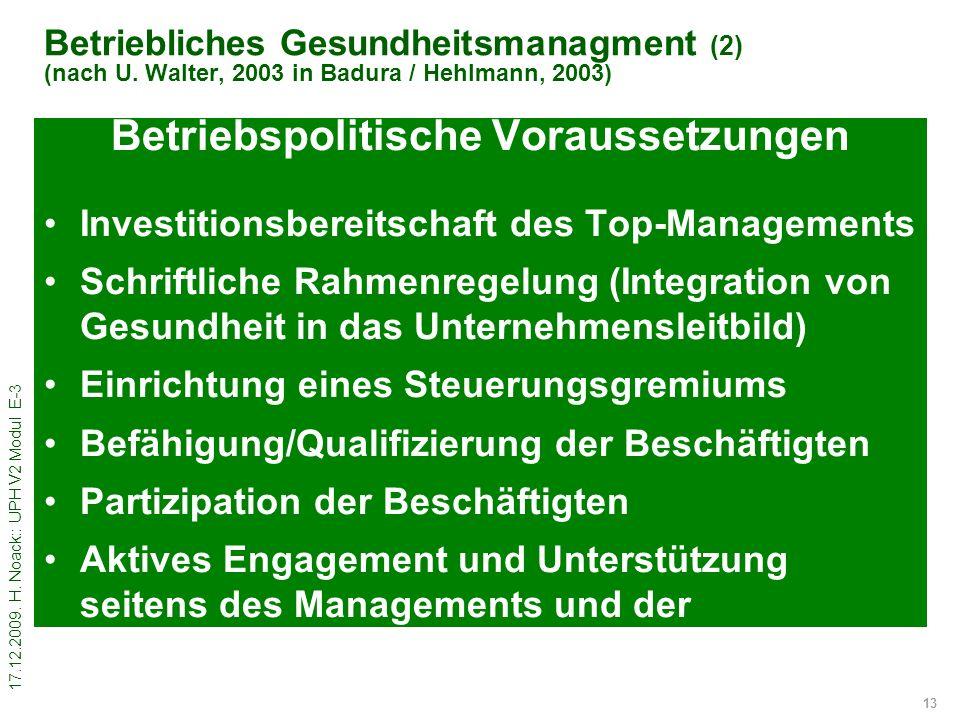 17.12.2009. H. Noack:: UPH V2 Modul E-3 13 Betriebliches Gesundheitsmanagment (2) (nach U. Walter, 2003 in Badura / Hehlmann, 2003) Betriebspolitische