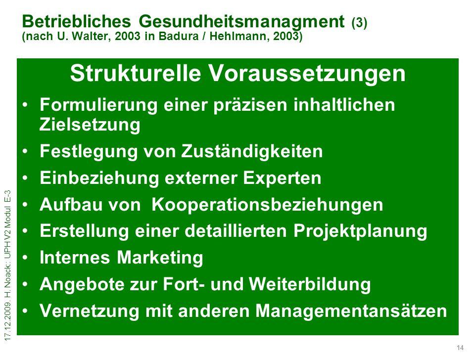 17.12.2009. H. Noack:: UPH V2 Modul E-3 14 Betriebliches Gesundheitsmanagment (3) (nach U. Walter, 2003 in Badura / Hehlmann, 2003) Strukturelle Vorau