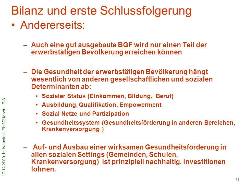 17.12.2009. H. Noack:: UPH V2 Modul E-3 34 Bilanz und erste Schlussfolgerung Andererseits: –Auch eine gut ausgebaute BGF wird nur einen Teil der erwer