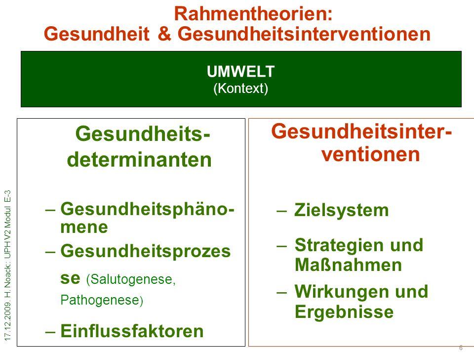 17.12.2009. H. Noack:: UPH V2 Modul E-3 6 UMWELT (Kontext) Rahmentheorien: Gesundheit & Gesundheitsinterventionen Gesundheits- determinanten –Gesundhe